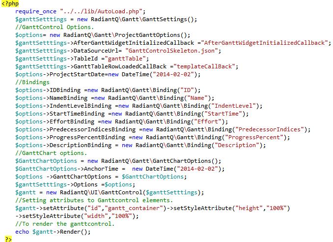 PHP_Gantt_Init_Code